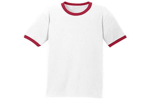 White with Red Ring Color Sleeve T-Shirt